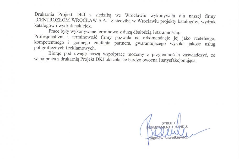 Centrozłom Wrocław - opinia o drukarni