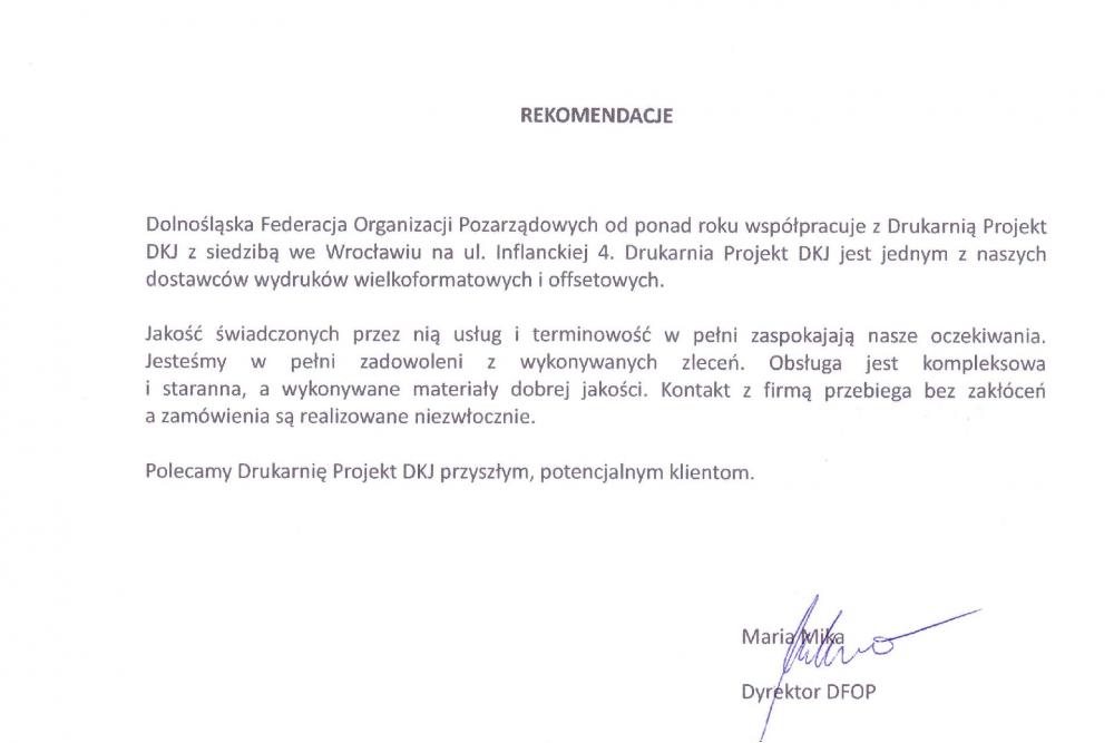 DFOP - referencje dla drukarni